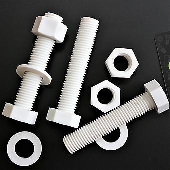 5x Vit pan head polypropylen (PP) plastmuttrar och bultar, brickor, M20 x 100mm