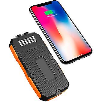 25000MAh Solar Power Bank, 10W Fast Fast Wireld Wireless Charger Powerbank con Camping Poverbank caricabatterie portatile, per iPhone per Samsung, (arancione)