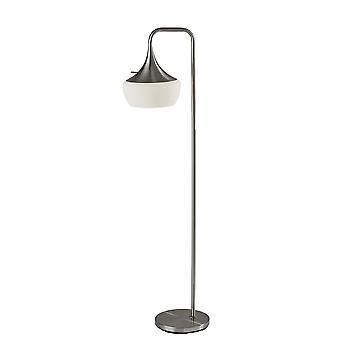 Modern Floor Lamp Gnome Alabaster Glass Brushed Steel