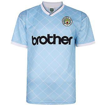 Score Draw Mens Manchester City Football Club 88 Home Jersey Shirt Retro Top