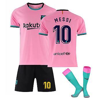 Messi #10 Home 2020/2021 Ny säsong Barcelona Fotboll Home Jersey T Shirt Set för barnungdomar