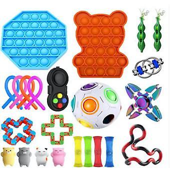 23buc Extrudare Fidget Jucării Noodle Strings Push Pop Bubble Stress Relief Toys