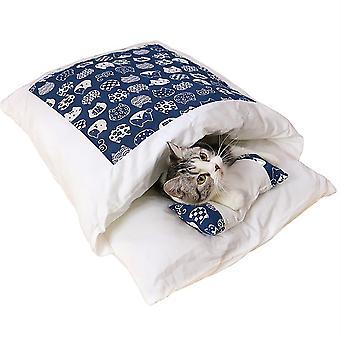 Kivehető és mosható téli meleg hálózsák macskáknak és kutyáknak (sötétkék S)