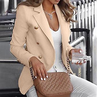 kvinner knapp slank passform blazer casual erme outwear dress frakk