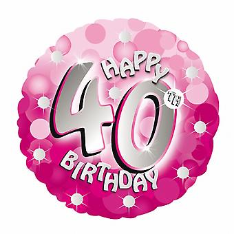 Amscan 18 Inch Pink Happy 40th Birthday Circular Foil Balloon
