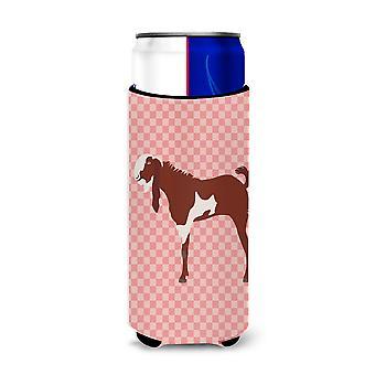 Jamnapari Goat Pink Check Michelob Ultra Hugger for slim cans