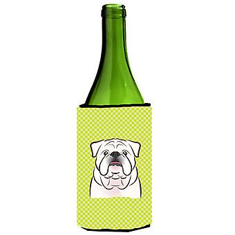 Checkerboard Lime Green White English Bulldog  Wine Bottle Beverage Insulator Hu