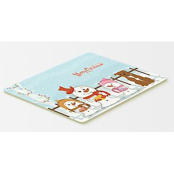 Merry Christmas Carolers Staffordshire Bull Terrier Brown Kitchen or Bath Mat 20