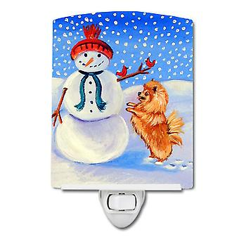 Snowman with Pomeranian Winter Snowman Ceramic Night Light