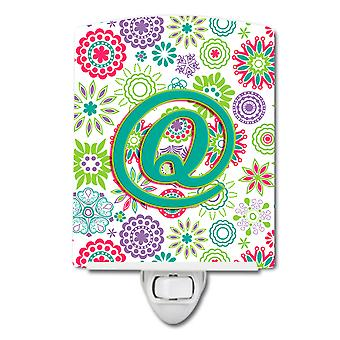 Letter Q Flowers Pink Teal Green Initial Ceramic Night Light