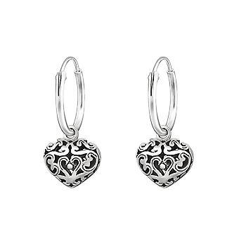 Heart - 925 Sterling Silver Ear Hoops - W32138X
