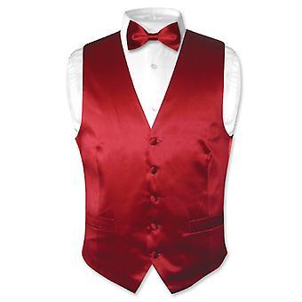 Biagio Men's SILK Dress Vest & Bow Tie Solid BowTie Set for Suit or Tux