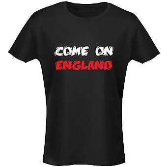 Come On England Funky Font Womens T-Shirt 8 Colours (8-20) by swagwear