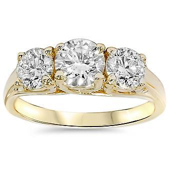 خاتم الذهب الماس حجر ثلاثة 3 1/8 قيراط 14 ك الذهب الأصفر