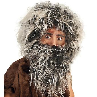 Neanderthals set wig with beard primitive man