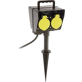 as - Schwabe 60685 Weatherproof socket strip (+ timer) 2x Black incl. ground spike, incl. timer