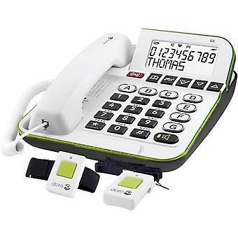 doro Secure 350 زر كبير بسلك بما في ذلك جهاز إرسال نداء الطوارئ، بدون استخدام اليدين الخلفية أبيض