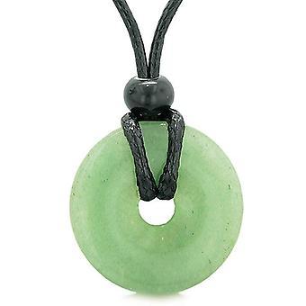 Amulet geluk munt vormige Donut genezing groene Quartz charme Magic en bescherming bevoegdheden ketting