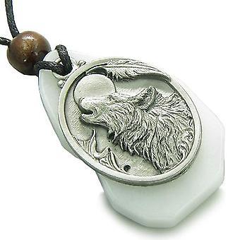 ユニークなマジック ハウリング狼頭白翡翠宝石邪眼保護お守りペンダント ネックレス