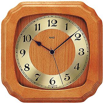 rustic wall clock radio clock radio Cherry solid lacquered mineral glass
