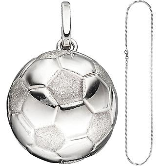 مقطورة الأطفال كرة القدم 925 الفضة لكرة القدم قلادة مع سلسلة 42 سم