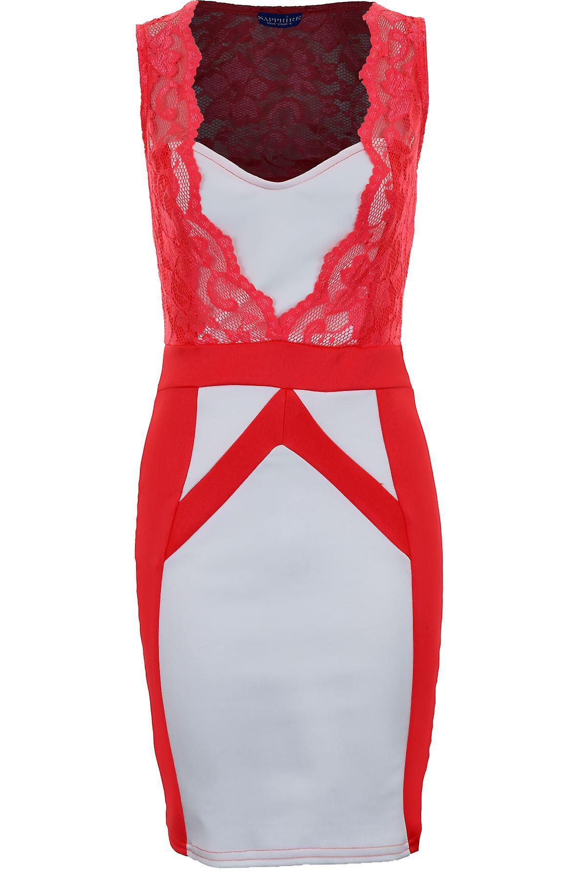 Ladies Sleeveless Square Neck Lace Contrast Panel Women's Bodycon Dress