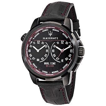 Maserati Mens Successo 44mm | Schwarzes Ziffernblatt | Schwarzes Leder Armband R8851121002 Uhr