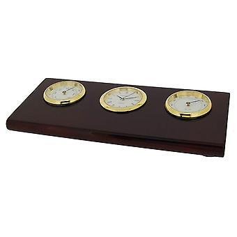 Cadeau tijd producten Base met Thermo-Hygrometer en klok - goud/bruin