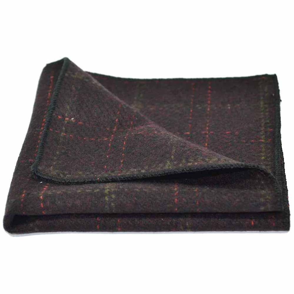 Heritage Check Wine Bow Tie & Pocket Square Set - Tweed, Plaid Country Look | Boxed