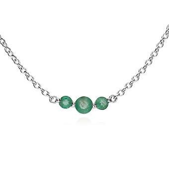 Classic Round Emerald 3 Stone Gradient Necklace in 925 Sterling Silver 270N034207925