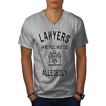 Lawyers Have Felings Men GreyV-Neck T-shirt | Wellcoda