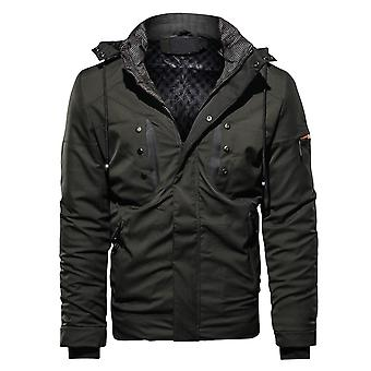 Cloudstyle Men's Quilted Jacket Warm Hooded Casual Padded Jacket