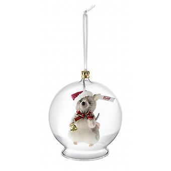Steiff mus i glas bulb ornament 8 cm