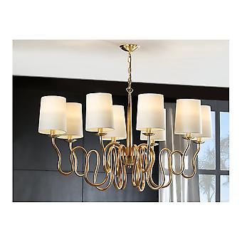 Schuller Traditional Gold Leaf Brushed Brass Ceiling Shade 8 Light Pendant