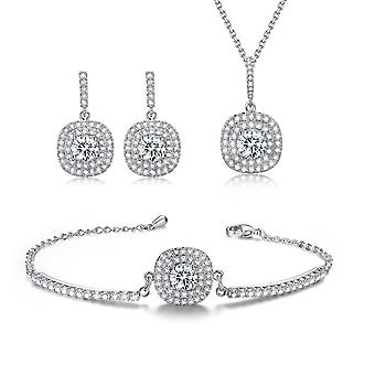 Classic Jewellery Set Rhinestone Halo Necklace, Stud Earrings & Bracelet