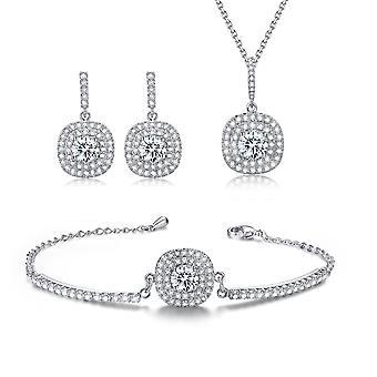 Klassiske smykker sæt Rhinestone Halo halskæde, Stud Øreringe og armbånd
