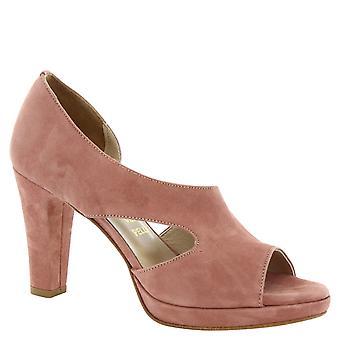 Leonardo Shoes Women's handmade dusty rose suede high heels pumps