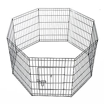 PawHut 8 Panel Pet Cage Playpen Dog Puppy Metal Cage Kennel Indoor Outdoor (24 In)