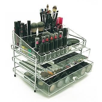OnDisplay 3 Tier Chromed Steel Frame Acrylic Cosmetic/Makeup Organizer