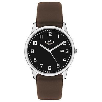 Limiet | Heren donker bruin lederen band | Zwarte wijzerplaat | 5744,01 horloge