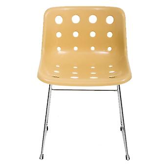 Loft Robin Day Skid Cappuccino Plastic Polo Chair