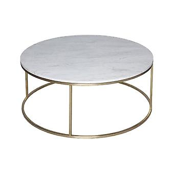 Gillmore White Marble And Gold Metal Table à café circulaire contemporaine