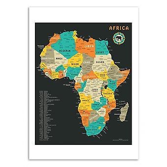Kunst-poster-Afrika kaart-Jazzberry blauw 50 x 70 cm