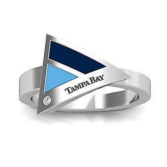 Tampa Bay Rays Engraved Sterling Silver Diamond Geometric Ring In Blue and Sky Blue