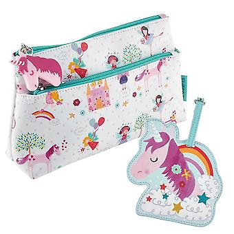 Childrens Unicorn washbag og bagasje tag sett