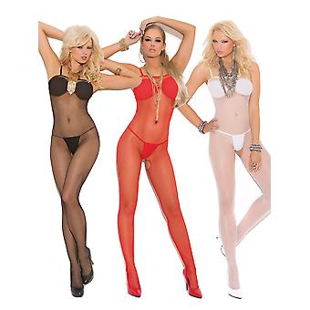 Womens Plus Size Seamless Fishnet Crotchless Bodystocking Bodysuit Hosiery Lingerie- Pack of 3