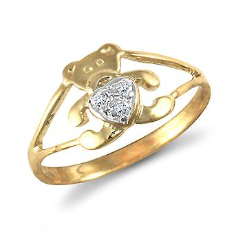 Jewelco London Kids Solid 9ct Yellow Gold White Round Brilliant Cubic Zirconia Teddy Bear Love Heart Baby Ring