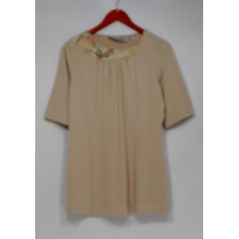 George Simonton Top Knit Short w/Embellished Neckline Beige A229337