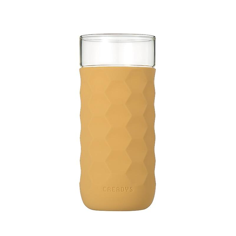 Honeycomb Anti-skid Glass with Silicone Sleeve 380ml in Khaki