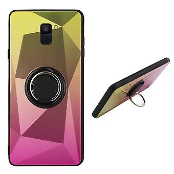 Back Cover Ring/Magnet Aurora Samsung A6 2018 Gold + Pink